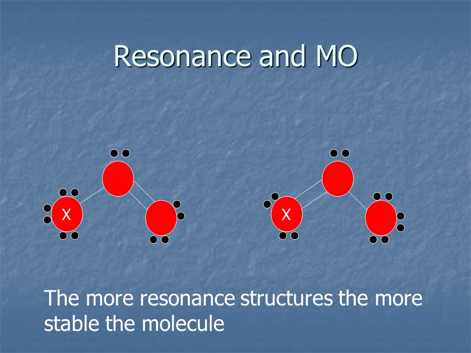 Resonance and MO X X The more resonance structures the more stable the molecule