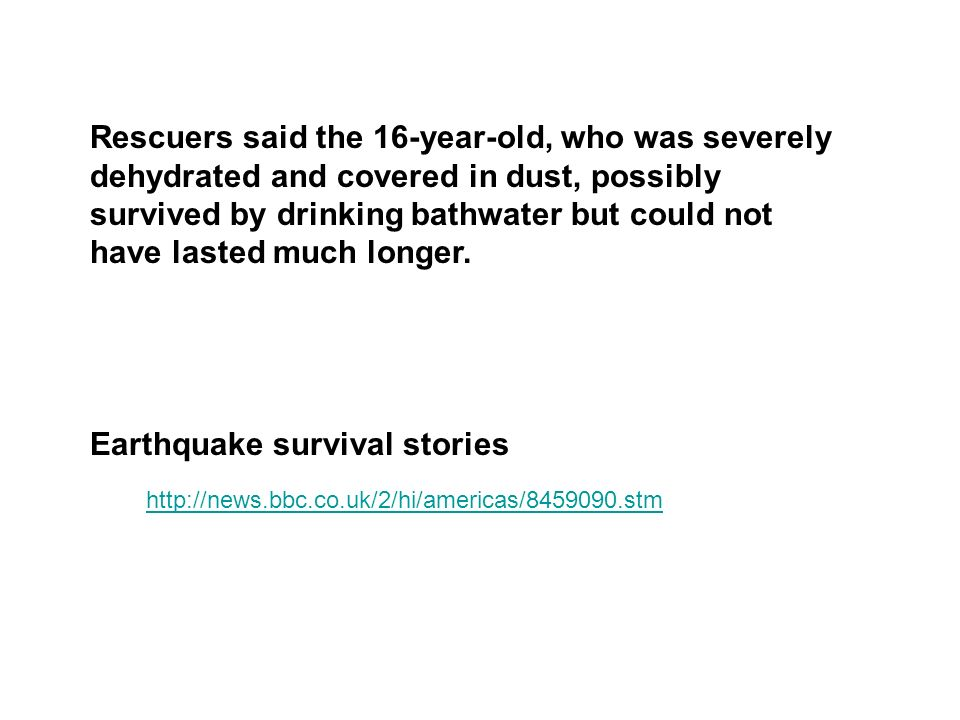 Earthquake survival stories
