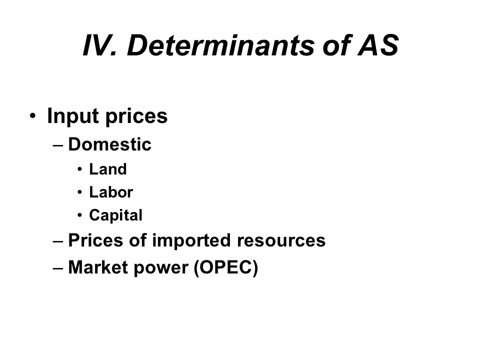 IV. Determinants of AS Input prices Domestic
