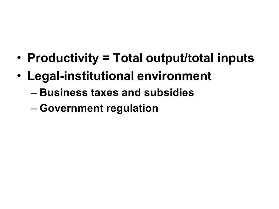 Productivity = Total output/total inputs