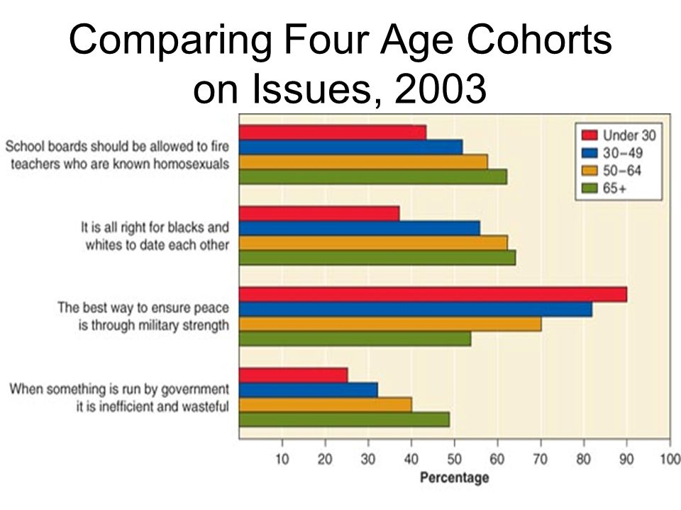 Comparing Four Age Cohorts on Issues, 2003