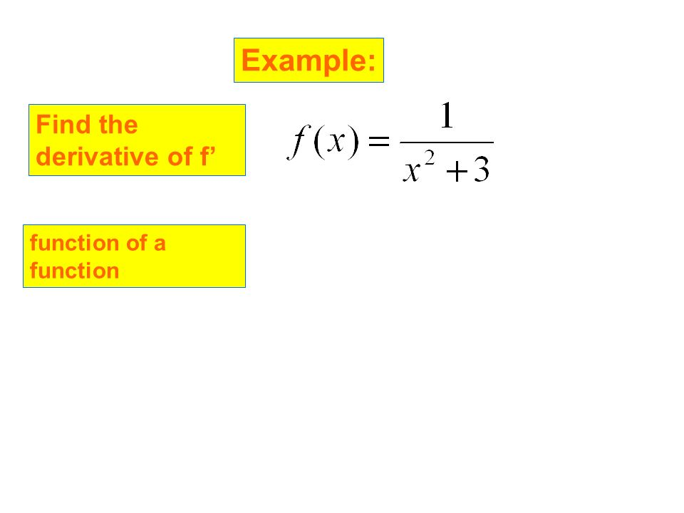 Example: Find the derivative of f' function of a function