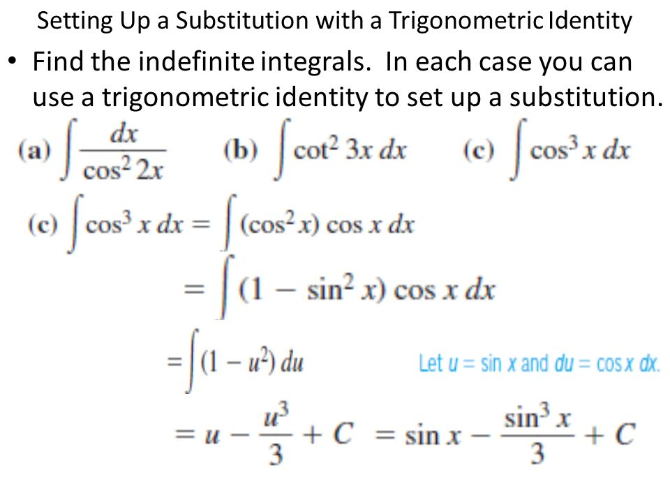 Setting Up a Substitution with a Trigonometric Identity