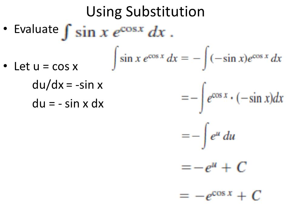 Using Substitution Evaluate Let u = cos x du/dx = -sin x