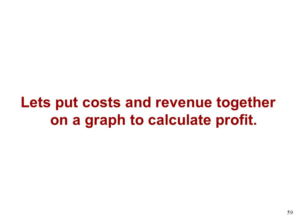 Lets put costs and revenue together on a graph to calculate profit.