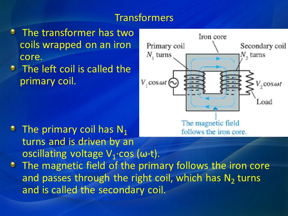 Transformers The transformer has two. coils wrapped on an iron. core. The left coil is called the.