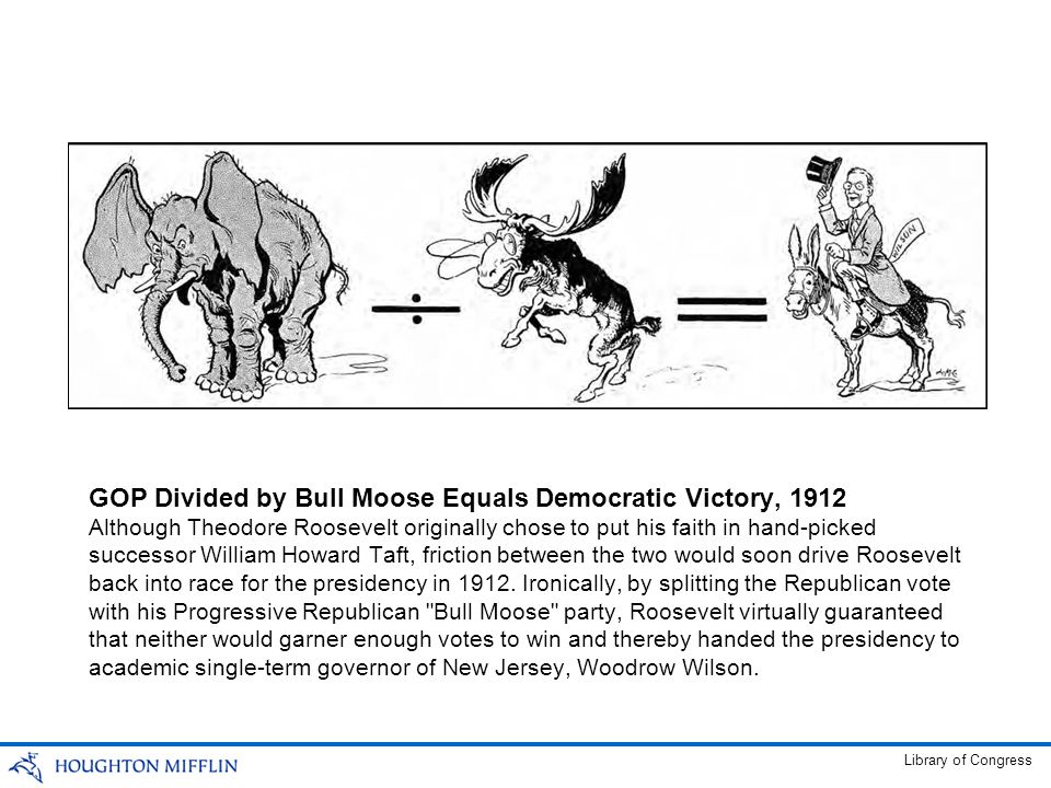 GOP Divided by Bull Moose Equals Democratic Victory, 1912