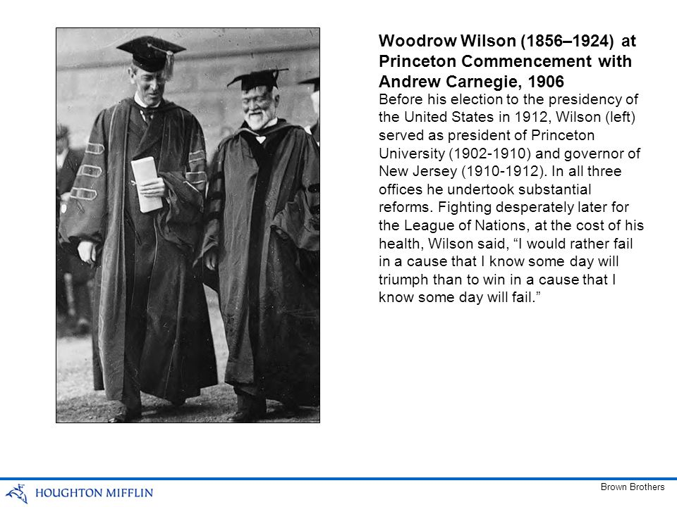 Woodrow Wilson (1856–1924) at Princeton Commencement with Andrew Carnegie, 1906