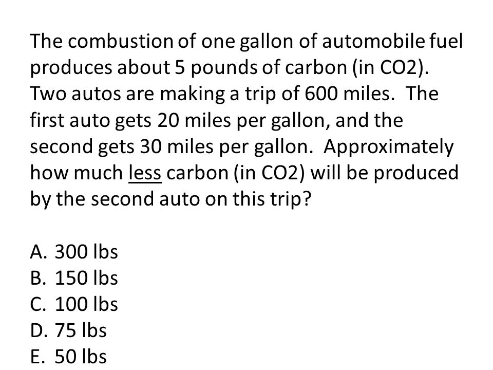 The combustion of one gallon of automobile fuel produces about 5 pounds of carbon (in CO2). Two autos are making a trip of 600 miles. The first auto gets 20 miles per gallon, and the second gets 30 miles per gallon. Approximately how much less carbon (in CO2) will be produced by the second auto on this trip