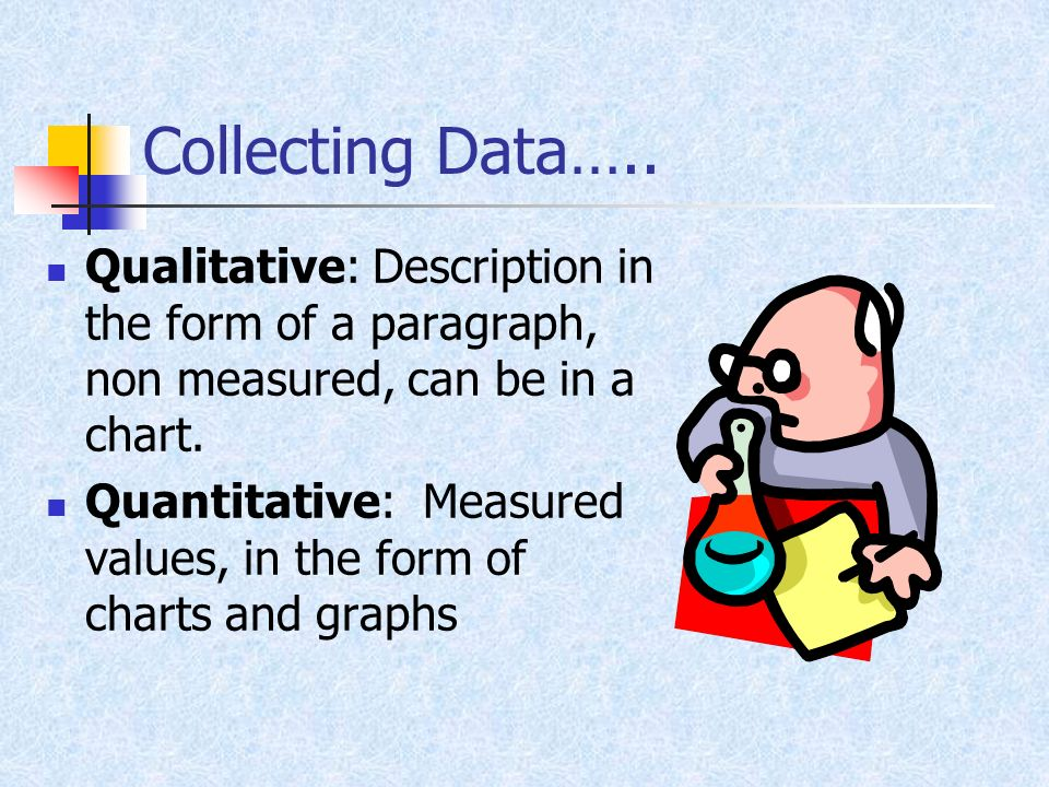 Collecting Data….. Qualitative: Description in the form of a paragraph, non measured, can be in a chart.