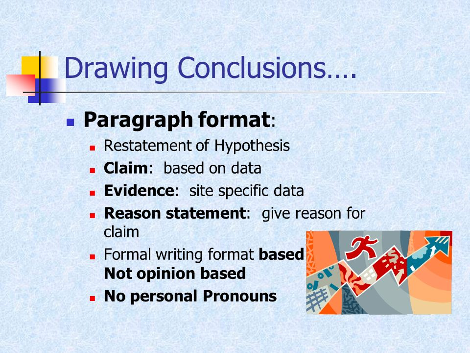 Drawing Conclusions…. Paragraph format: Restatement of Hypothesis