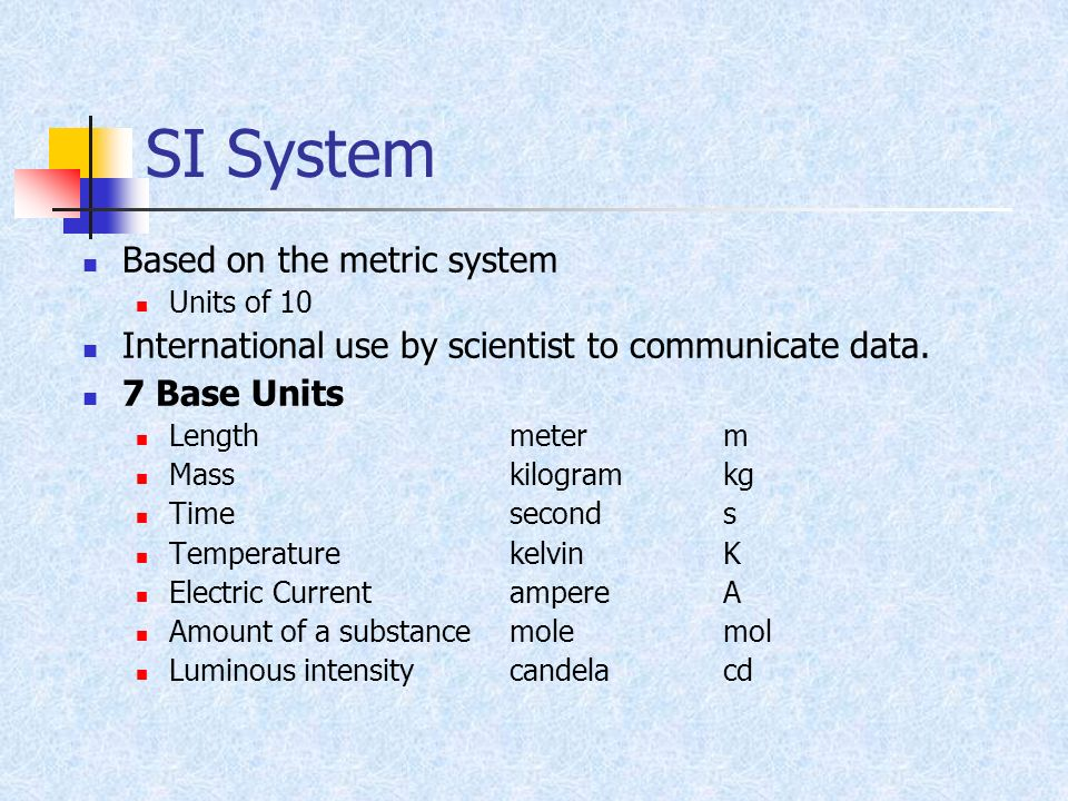 SI System Based on the metric system