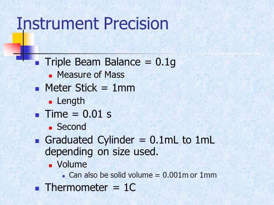 Instrument Precision Triple Beam Balance = 0.1g Meter Stick = 1mm