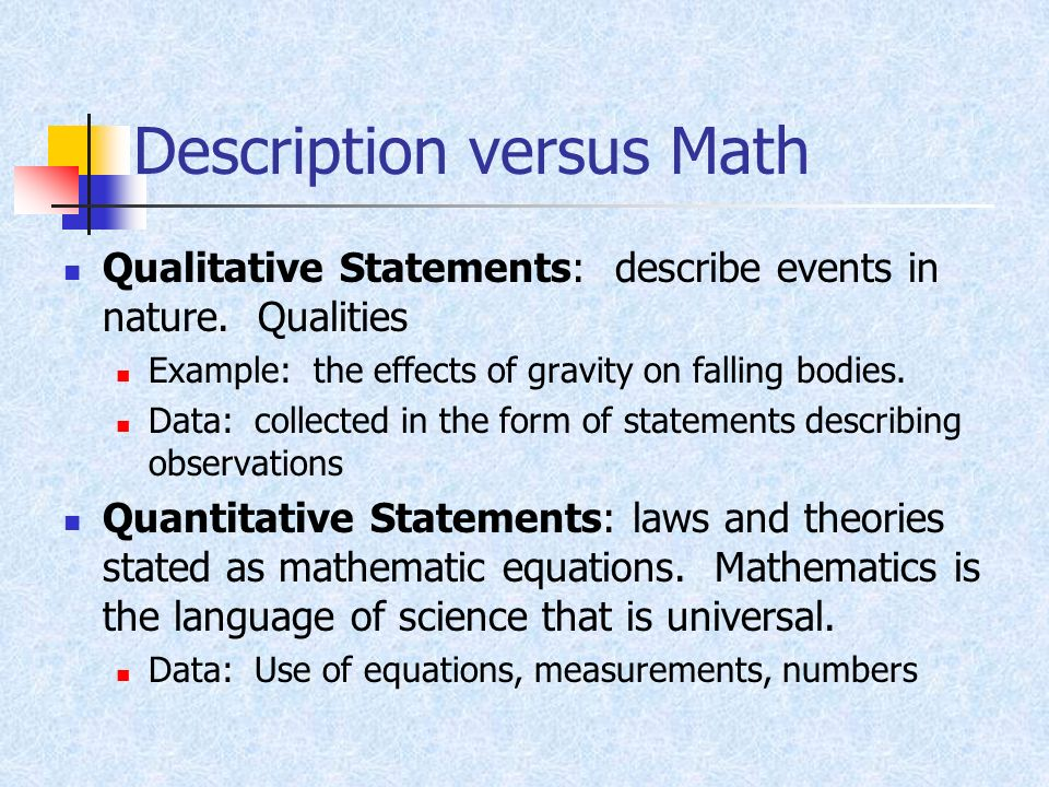Description versus Math