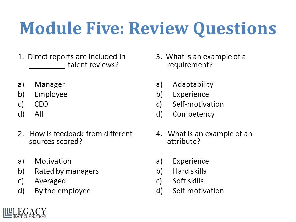 module five review questions