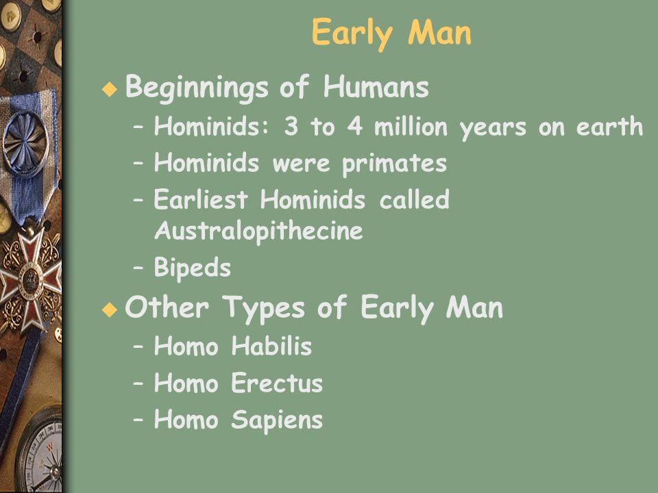 Early Man Beginnings of Humans Other Types of Early Man