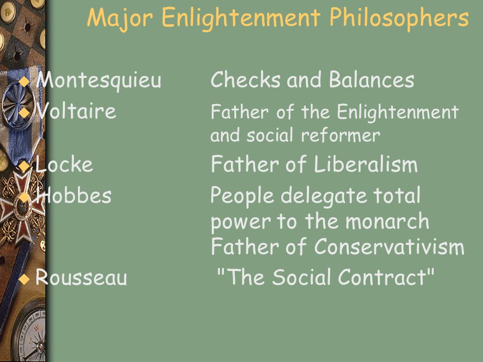 Major Enlightenment Philosophers
