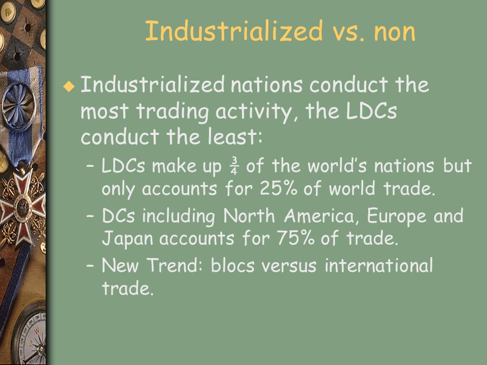 Industrialized vs. non Industrialized nations conduct the most trading activity, the LDCs conduct the least: