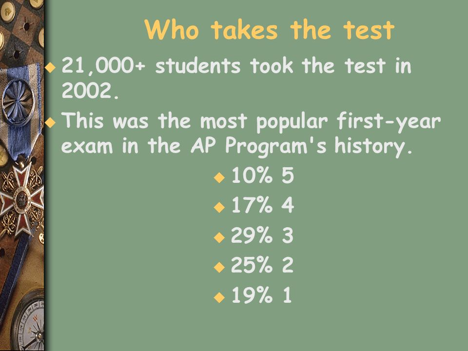 Who takes the test 21,000+ students took the test in 2002.