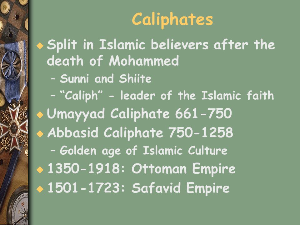 Caliphates Split in Islamic believers after the death of Mohammed