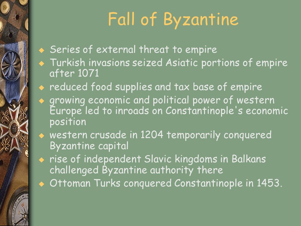 Fall of Byzantine Series of external threat to empire