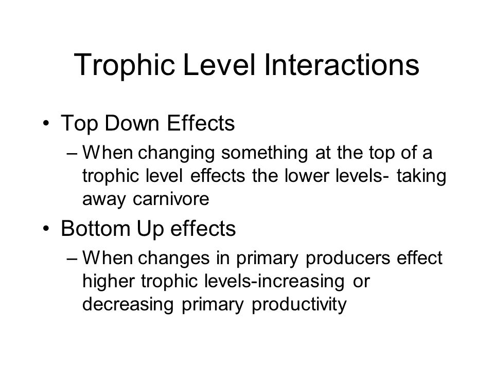 Trophic Level Interactions