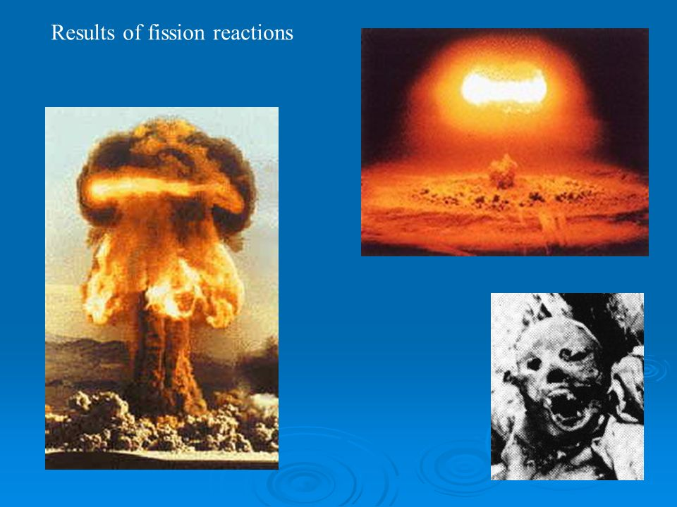 Results of fission reactions