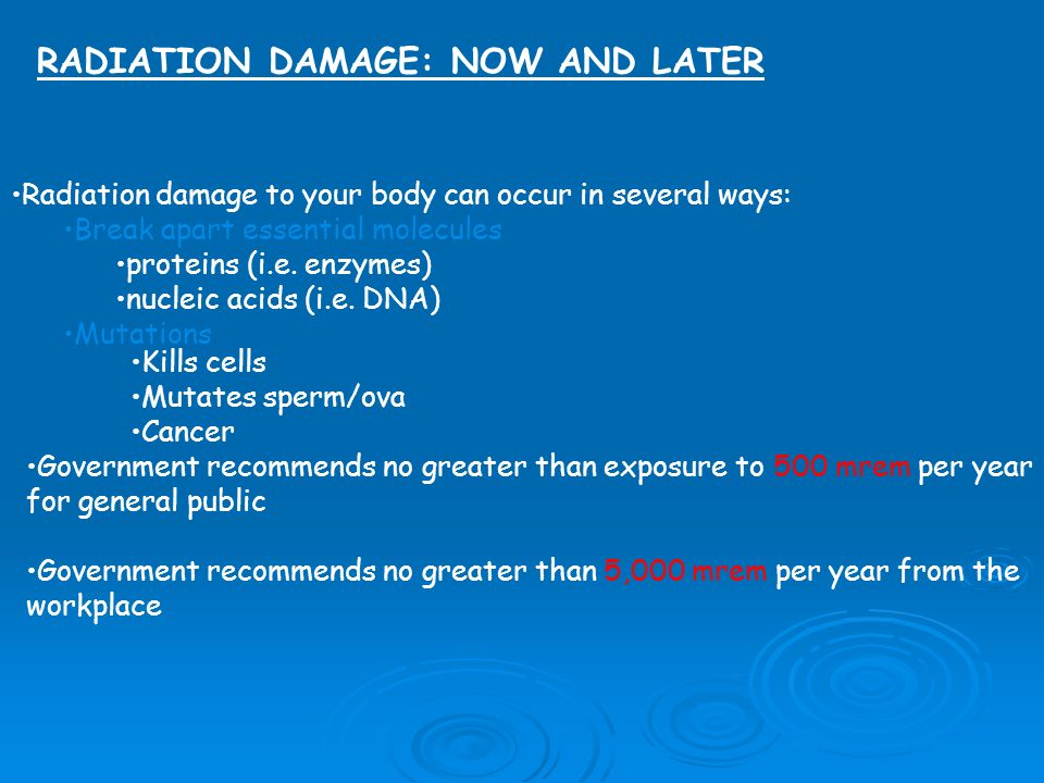 RADIATION DAMAGE: NOW AND LATER