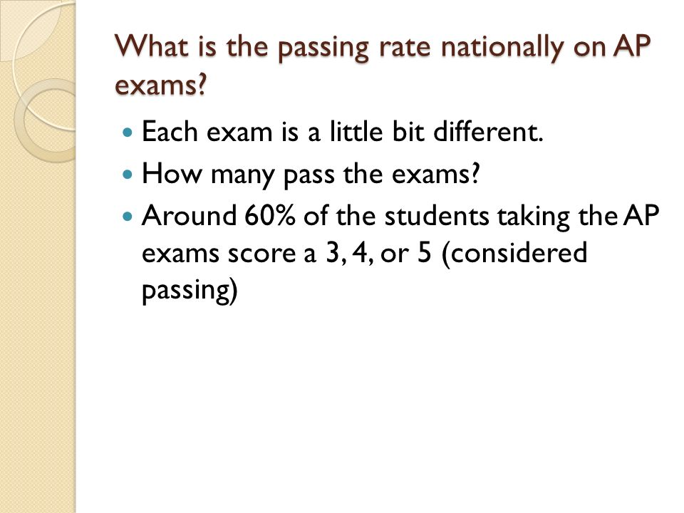 What is the passing rate nationally on AP exams