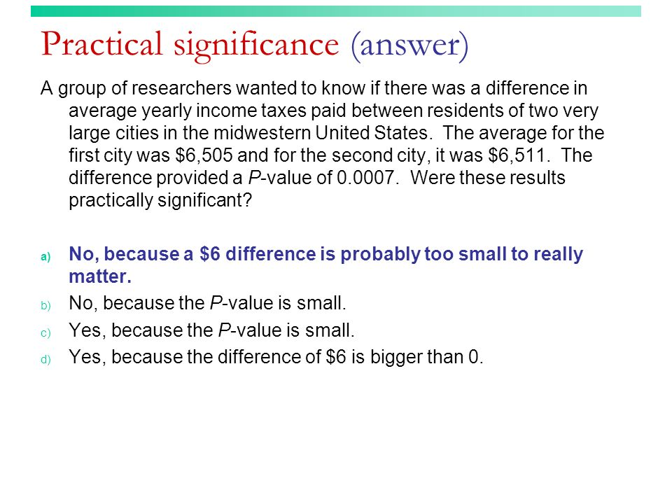 Practical significance (answer)