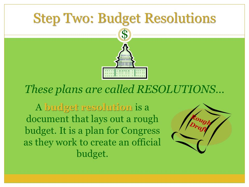 Step Two: Budget Resolutions