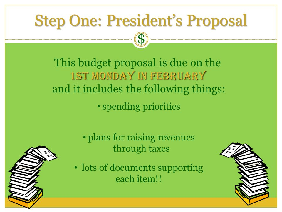 Step One: President's Proposal