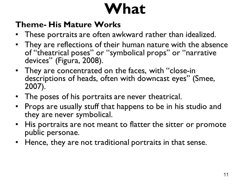What Theme- His Mature Works