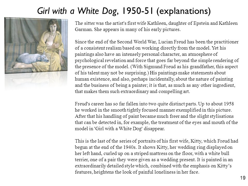Girl with a White Dog, (explanations)
