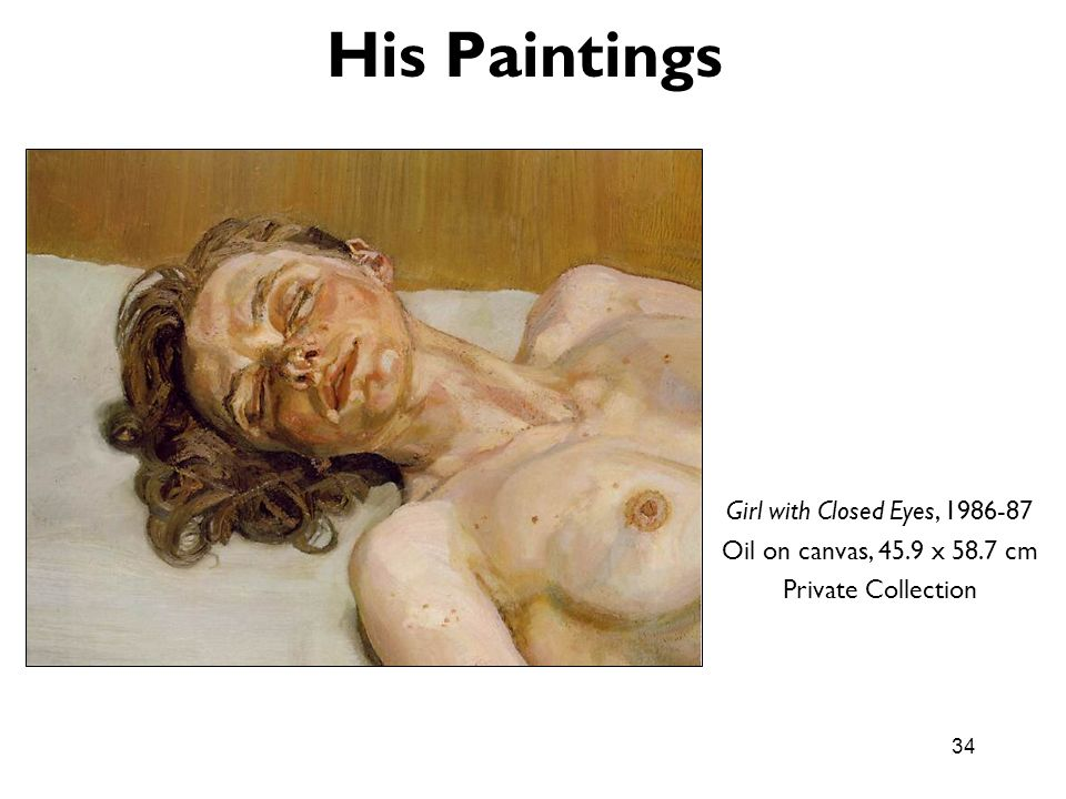 His Paintings Girl with Closed Eyes,