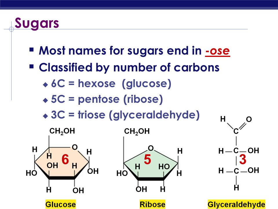 Sugars Most names for sugars end in -ose