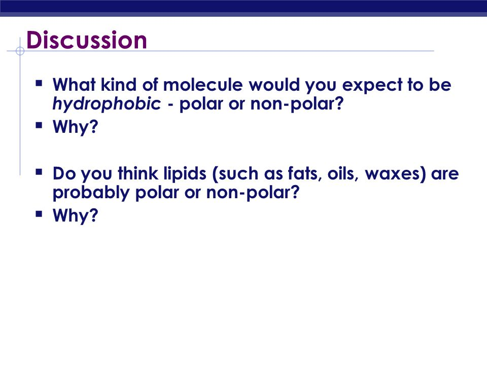 Discussion What kind of molecule would you expect to be hydrophobic - polar or non-polar Why