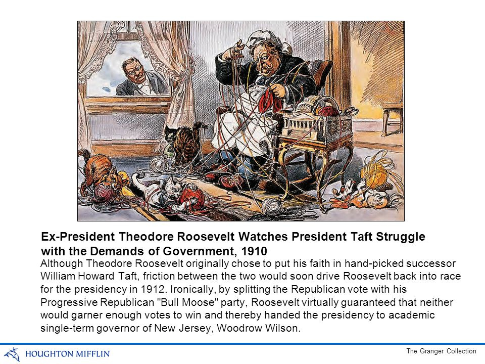 Ex-President Theodore Roosevelt Watches President Taft Struggle with the Demands of Government, 1910