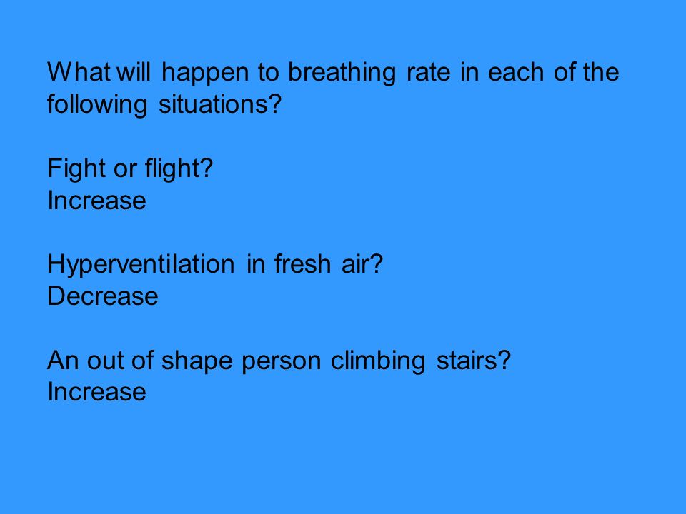 What will happen to breathing rate in each of the following situations