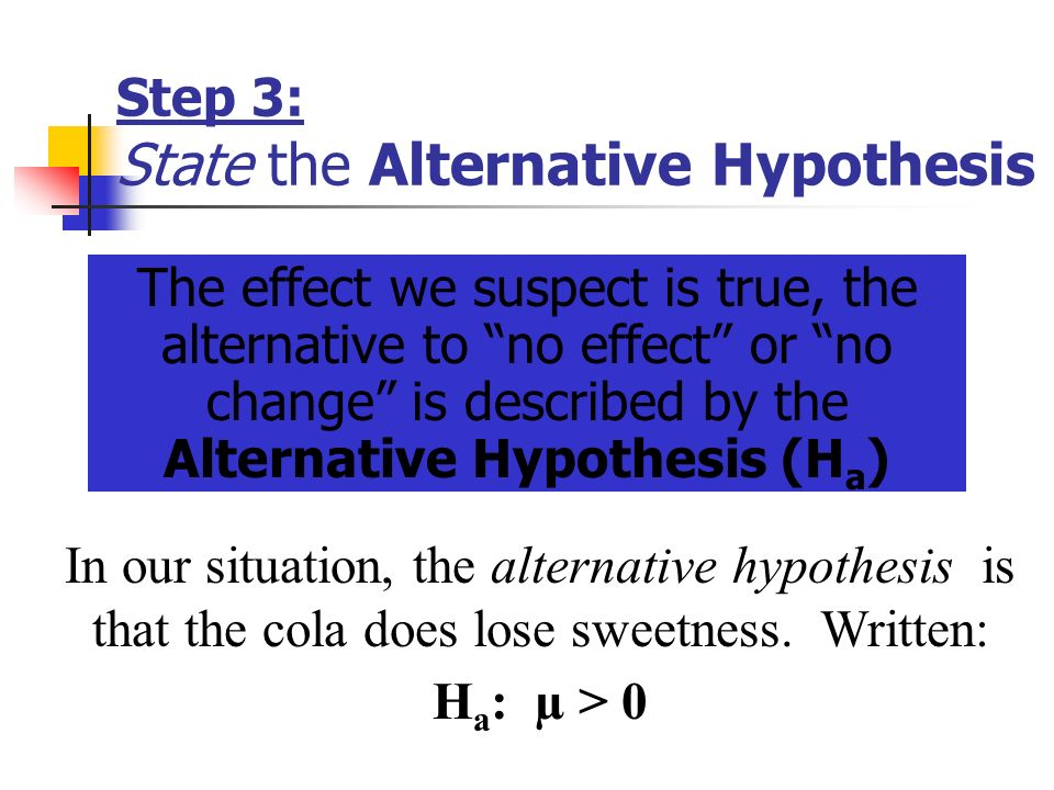 Step 3: State the Alternative Hypothesis