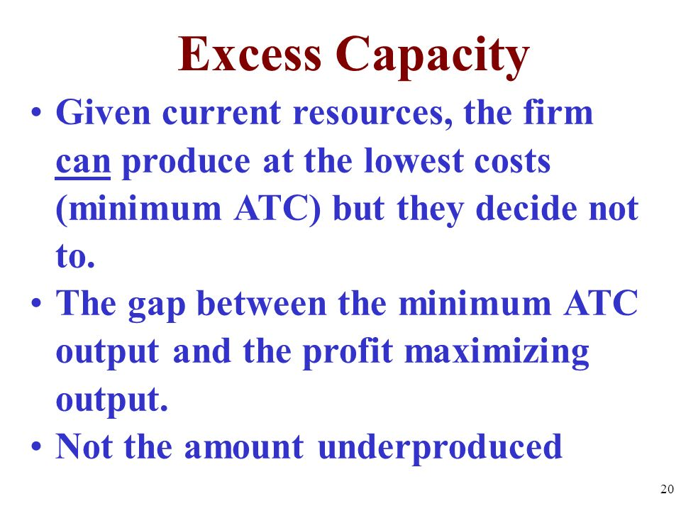 Excess Capacity Given current resources, the firm can produce at the lowest costs (minimum ATC) but they decide not to.