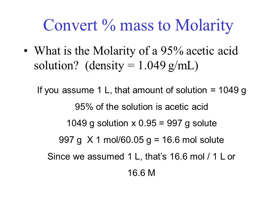 Convert % mass to Molarity