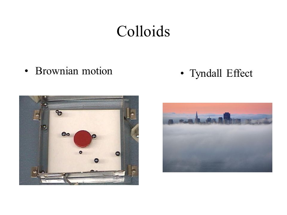 Colloids Brownian motion Tyndall Effect