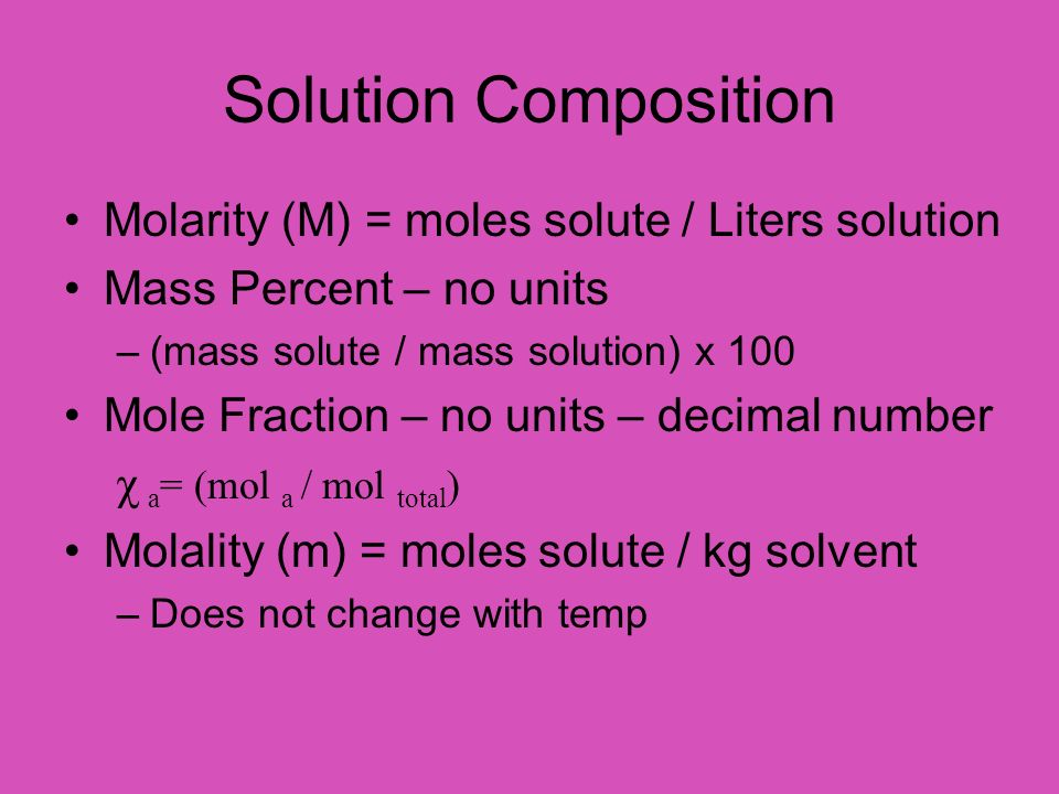 Solution Composition Molarity (M) = moles solute / Liters solution