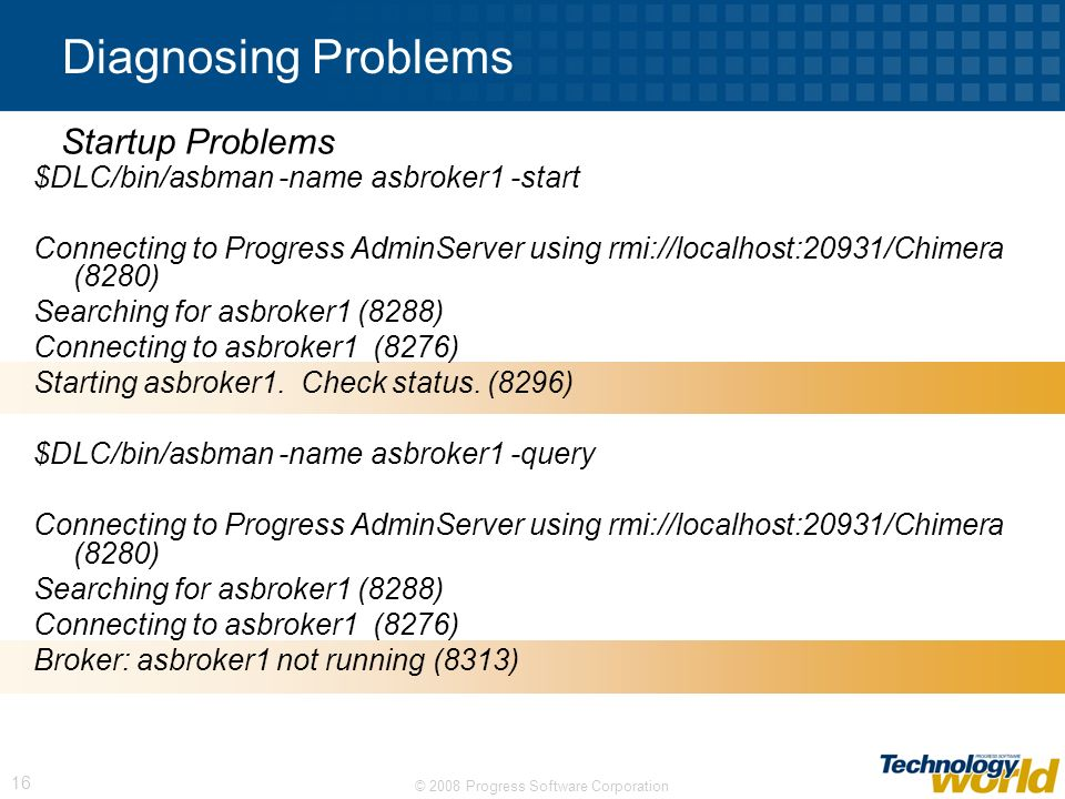 Diagnosing Problems Startup Problems