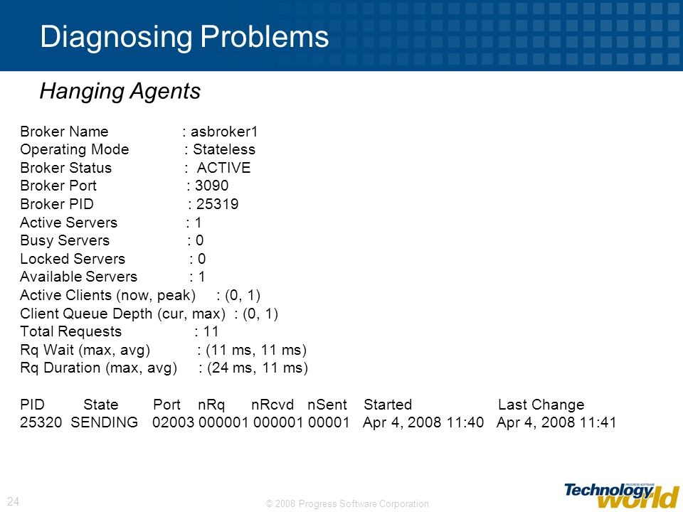 Diagnosing Problems Hanging Agents Broker Name : asbroker1
