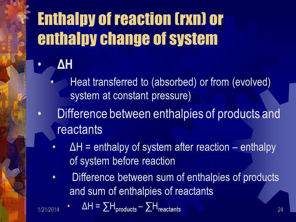 Enthalpy of reaction (rxn) or enthalpy change of system