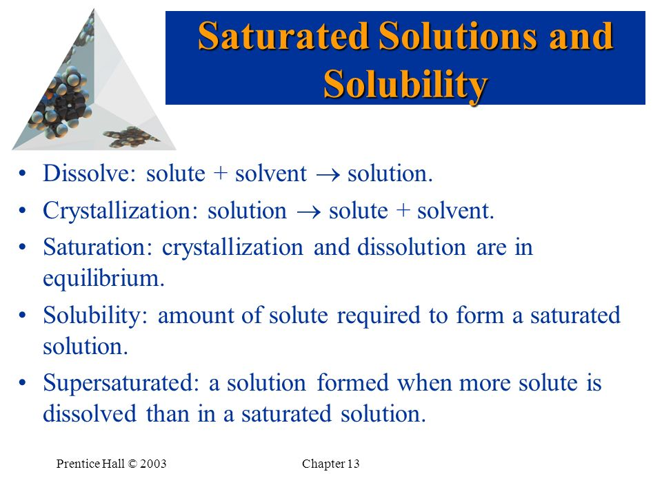Saturated Solutions and Solubility
