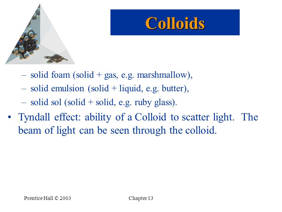 Colloids solid foam (solid + gas, e.g. marshmallow), solid emulsion (solid + liquid, e.g. butter),