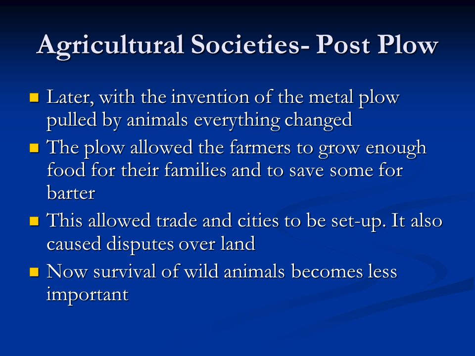 Agricultural Societies- Post Plow